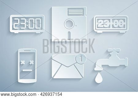 Set New, Email Incoming Message, Retro Flip Clock, Dead Mobile, Water Tap, Floppy Disk The 5.25-inch