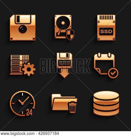 Set Floppy Disk Backup, Delete Folder, Database, Calendar With Check Mark, Clock 24 Hours And Server