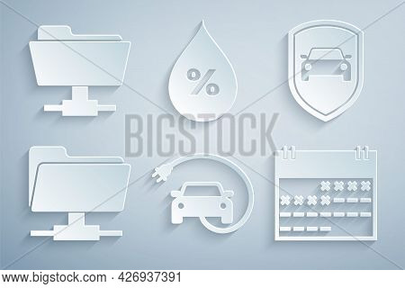 Set Electric Car, Car Protection Or Insurance, Ftp Folder, Calendar, Water Drop Percentage And Icon.