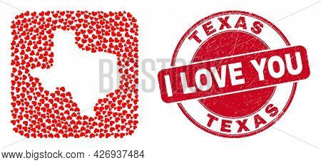 Vector Mosaic Texas State Map Of Love Heart Items And Grunge Love Seal Stamp. Mosaic Geographic Texa