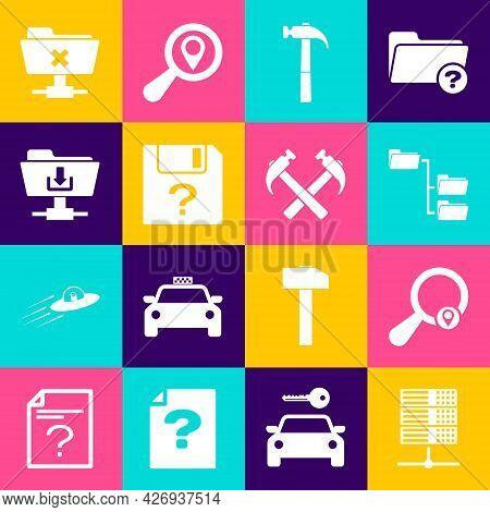 Set Server, Data, Web Hosting, Search Location, Folder Tree, Hammer, Unknown Document And Ftp Folder