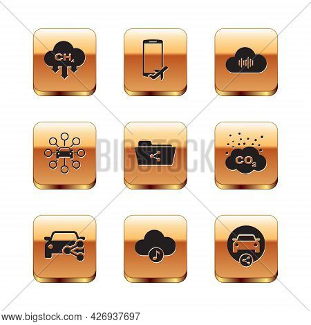 Set Methane Emissions Reduction, Car Sharing, Music Streaming Service, Share Folder, And Icon. Vecto