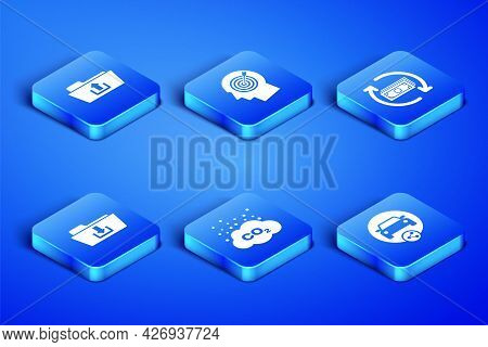 Set Car Sharing, Folder Upload, Co2 Emissions Cloud, Download, Head Hunting Concept And Refund Money
