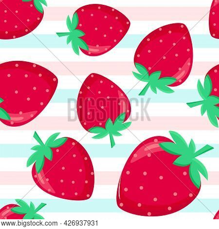 Strawberry And Stripes Shameless Pattern, Vector Illustration. Bright Red Summer Berry Continuous Ba