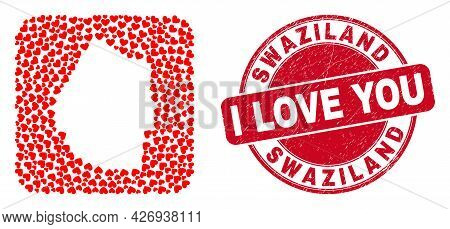 Vector Mosaic Swaziland Map Of Love Heart Elements And Grunge Love Badge. Mosaic Geographic Swazilan