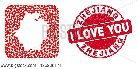 Vector Mosaic Zhejiang Province Map Of Love Heart Elements And Grunge Love Seal Stamp. Collage Geogr