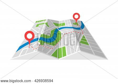 City Street Cartography Folded Paper Map Plan With Gps Location Place Pins And Navigation Route Betw