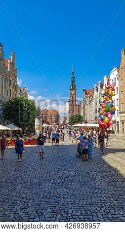 Gdansk, Poland - July 11, 2021: Long Market Boulevard In Old Town City Center Of Gdansk. Representat