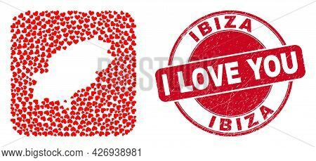 Vector Collage Ibiza Island Map Of Lovely Heart Elements And Grunge Love Badge. Collage Geographic I