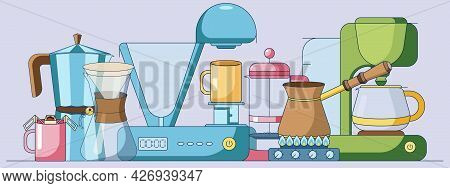 Cartoon Set Of Coffee Elements Collections, Different Brewing Methods, Coffee Maker Machines Isolate