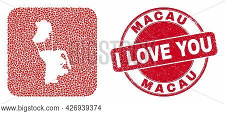 Vector Mosaic Macau Map Of Lovely Heart Items And Grunge Love Badge. Mosaic Geographic Macau Map Des