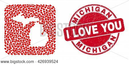 Vector Mosaic Michigan State Map Of Valentine Heart Items And Grunge Love Seal Stamp. Mosaic Geograp