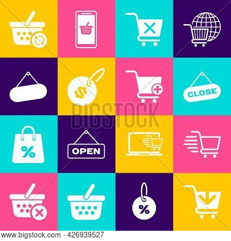 Set Add To Shopping Cart, Hanging Sign With Close, Remove Shopping, Price Tag Dollar, Signboard Hang
