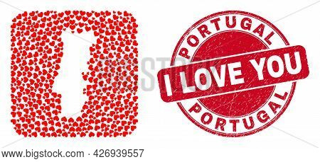 Vector Mosaic Portugal Map Of Love Heart Items And Grunge Love Badge. Mosaic Geographic Portugal Map