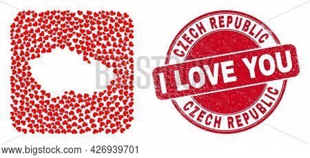 Vector Collage Czech Republic Map Of Valentine Heart Items And Grunge Love Seal. Collage Geographic