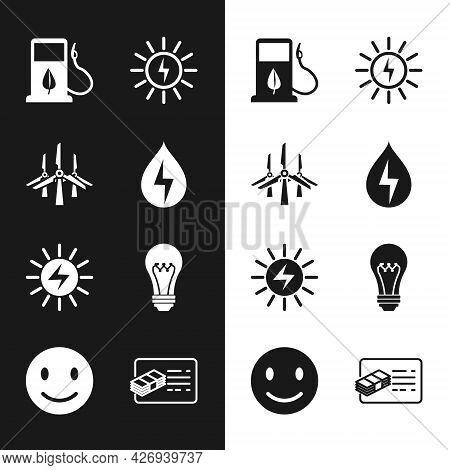 Set Water Energy, Wind Turbines, Bio Fuel With Fueling Nozzle, Solar Panel, Light Bulb, Financial Do