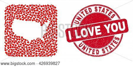 Vector Mosaic United States Map Of Love Heart Items And Grunge Love Seal Stamp. Collage Geographic U