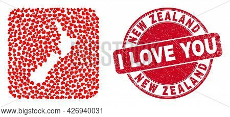 Vector Collage New Zealand Map Of Love Heart Elements And Grunge Love Seal Stamp. Collage Geographic