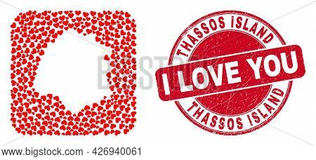 Vector Collage Thassos Island Map Of Love Heart Items And Grunge Love Badge. Collage Geographic Thas