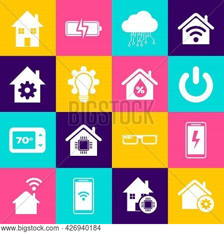 Set Smart Home Settings, Mobile Charging Battery, Power Button, Internet Of Things, Light Bulb And G
