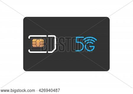 Mobile Phone Black Sim Card With Standard, Micro And Nano Emv Chip Design Template. 5g Gsm Plastic S