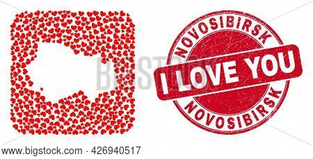 Vector Mosaic Novosibirsk Region Map Of Love Heart Items And Grunge Love Seal Stamp. Mosaic Geograph