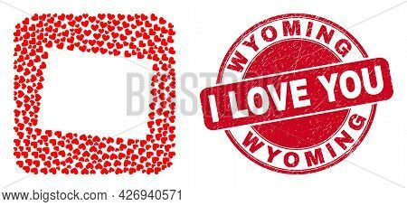 Vector Mosaic Wyoming State Map Of Valentine Heart Elements And Grunge Love Badge. Mosaic Geographic
