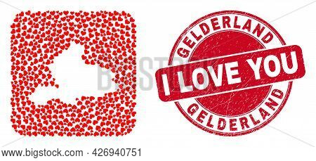 Vector Mosaic Gelderland Province Map Of Lovely Heart Elements And Grunge Love Stamp. Mosaic Geograp