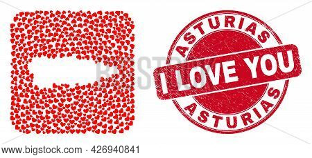 Vector Mosaic Asturias Province Map Of Lovely Heart Elements And Grunge Love Badge. Collage Geograph