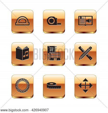 Set Protractor Grid, Laurel Wreath, Tape Measure, Mall Supermarket Building, Audio Book, Pixel Arrow