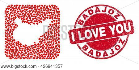 Vector Mosaic Badajoz Province Map Of Love Heart Items And Grunge Love Stamp. Mosaic Geographic Bada