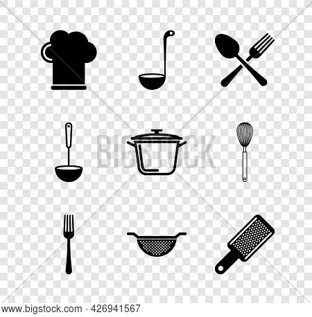 Set Chef Hat, Kitchen Ladle, Crossed Fork And Spoon, Fork, Colander, Grater, And Cooking Pot Icon. V