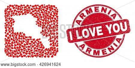 Vector Mosaic Armenia Map Of Love Heart Items And Grunge Love Stamp. Mosaic Geographic Armenia Map C