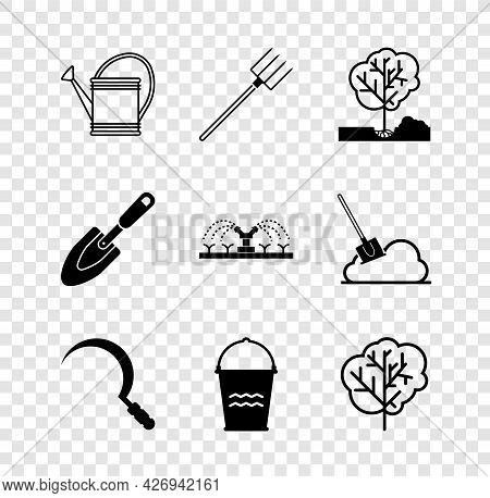 Set Watering Can, Garden Pitchfork, Planting Tree The Ground, Sickle, Bucket, Tree, Trowel Spade Sho