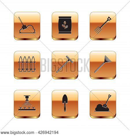 Set Shovel In The Ground, Automatic Irrigation Sprinklers, Garden Trowel Spade Or Shovel, Rake, Fenc