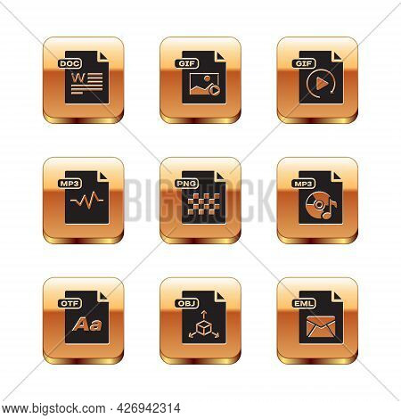 Set Doc File Document, Otf, Obj, Png, Mp3, Gif, Eml And Icon. Vector