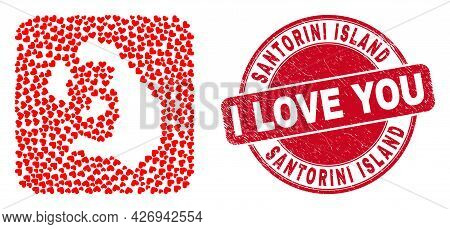 Vector Mosaic Santorini Island Map Of Love Heart Elements And Grunge Love Seal. Collage Geographic S