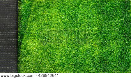 Artificial Grass Turf For Sports Fields Green Lawn Mockup With Copy Space.