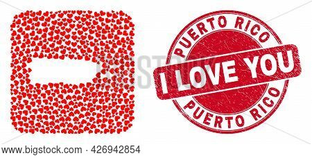 Vector Mosaic Puerto Rico Map Of Valentine Heart Elements And Grunge Love Stamp. Collage Geographic
