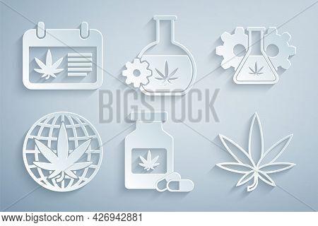 Set Medical Bottle With Marijuana, Test Tube, Legalize, Marijuana Or Cannabis Leaf, And Calendar And
