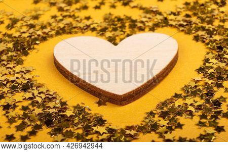 Valentines Day, Declaration Of Love On March 8 Heart On Yellow Background With Sparkles Mockup With
