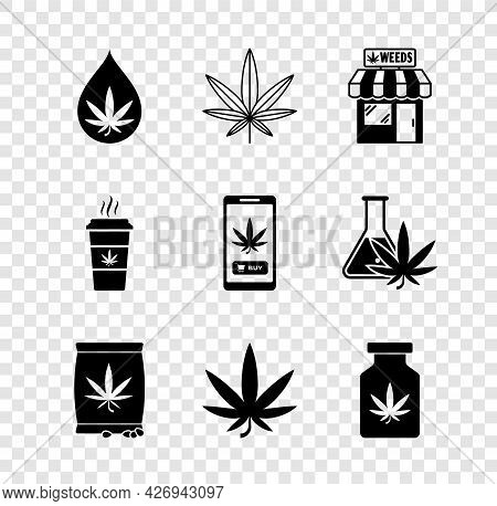 Set Marijuana Or Cannabis Leaf Oil, And Store, Seeds, Medical Bottle With Marijuana, Cup Coffee And