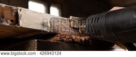 Removing Old Paint From Old Wooden Doors With A Spatula And A Heat Gun, Restoring Old Wooden Surface