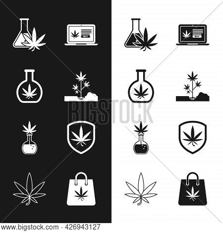 Set Planting Marijuana, Test Tube With, Online Buying, Shield And, Shopping Bag Of And Marijuana Or