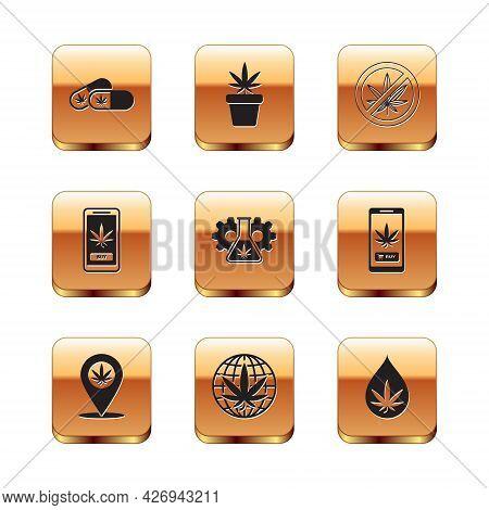 Set Medical Pills With Marijuana, Location And, Legalize, Test Tube, Online Buying, Stop, Marijuana