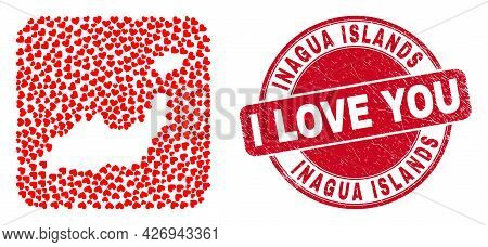 Vector Mosaic Inagua Islands Map Of Love Heart Elements And Grunge Love Seal Stamp. Mosaic Geographi