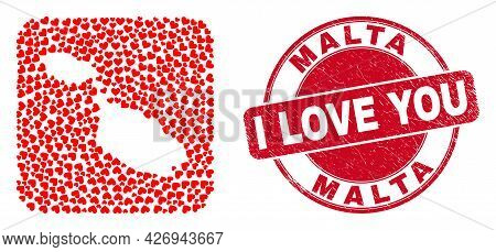 Vector Collage Malta Map Of Lovely Heart Elements And Grunge Love Seal Stamp. Collage Geographic Mal