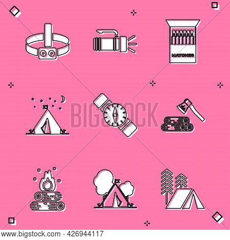 Set Head Flashlight, Flashlight, Open Matchbox And Matches, Tourist Tent With Flag, Compass, Wooden