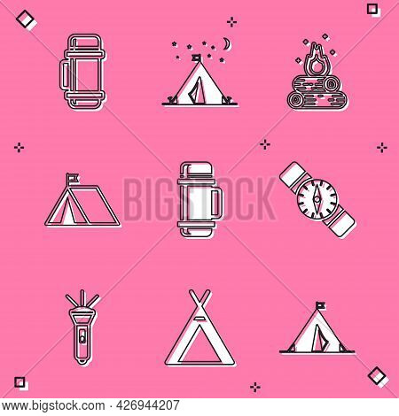 Set Thermos Container, Tourist Tent With Flag, Campfire, Compass, Flashlight And Icon. Vector