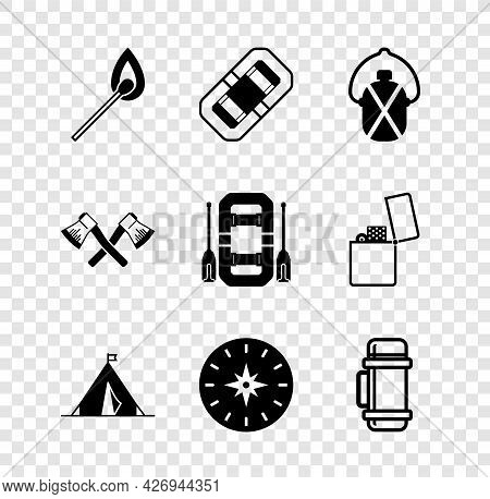 Set Burning Match With Fire, Rafting Boat, Canteen Water Bottle, Tourist Tent Flag, Compass, Thermos